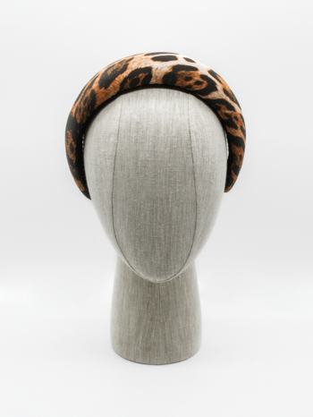 Leopard print silk headpiece $295
