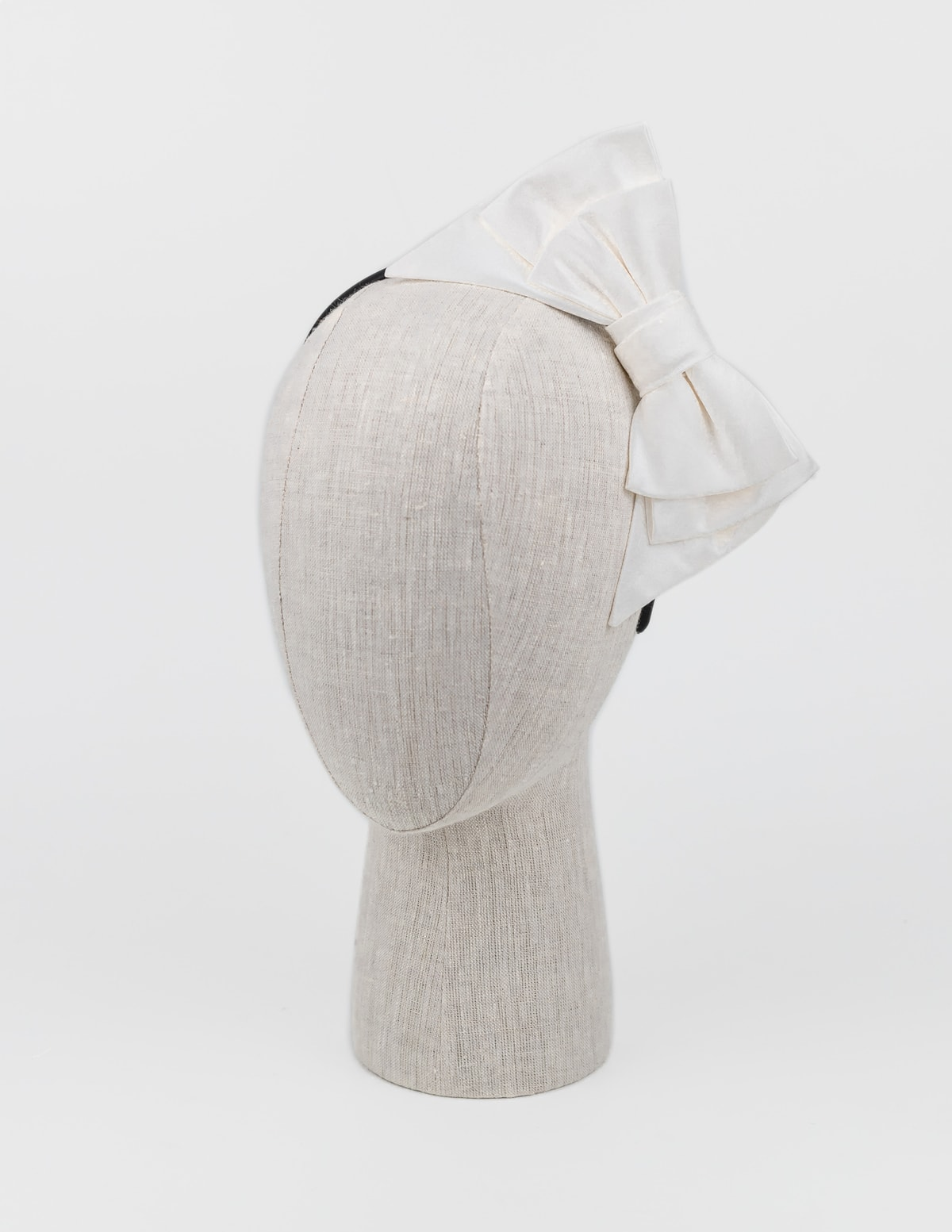 Ivory silk bow headpiece