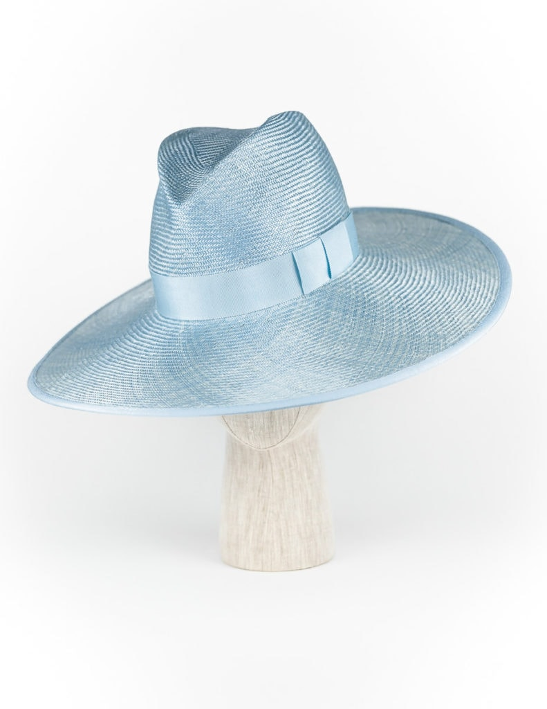 Sky blue straw fedora with Petersham ribbon edge $440