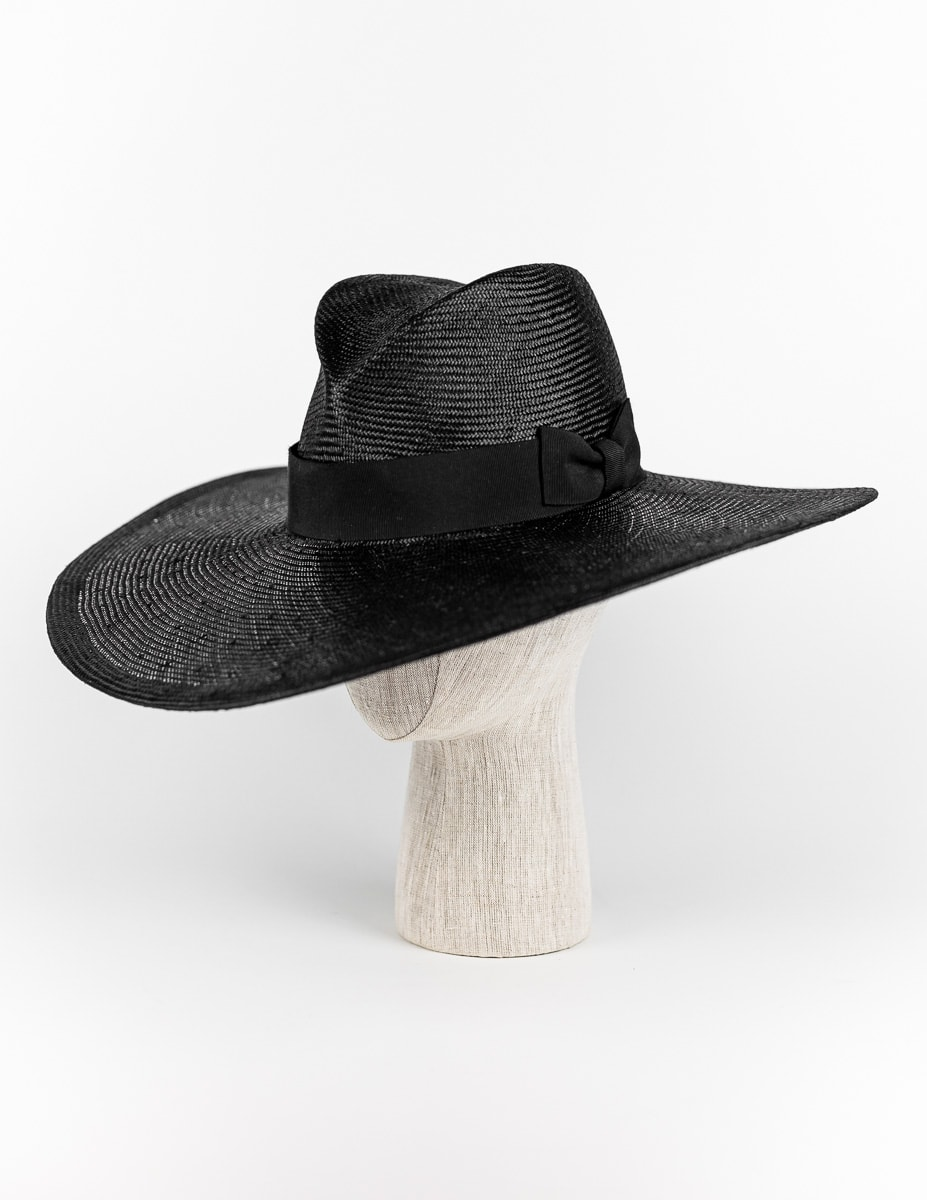 Black straw wide brim fedora