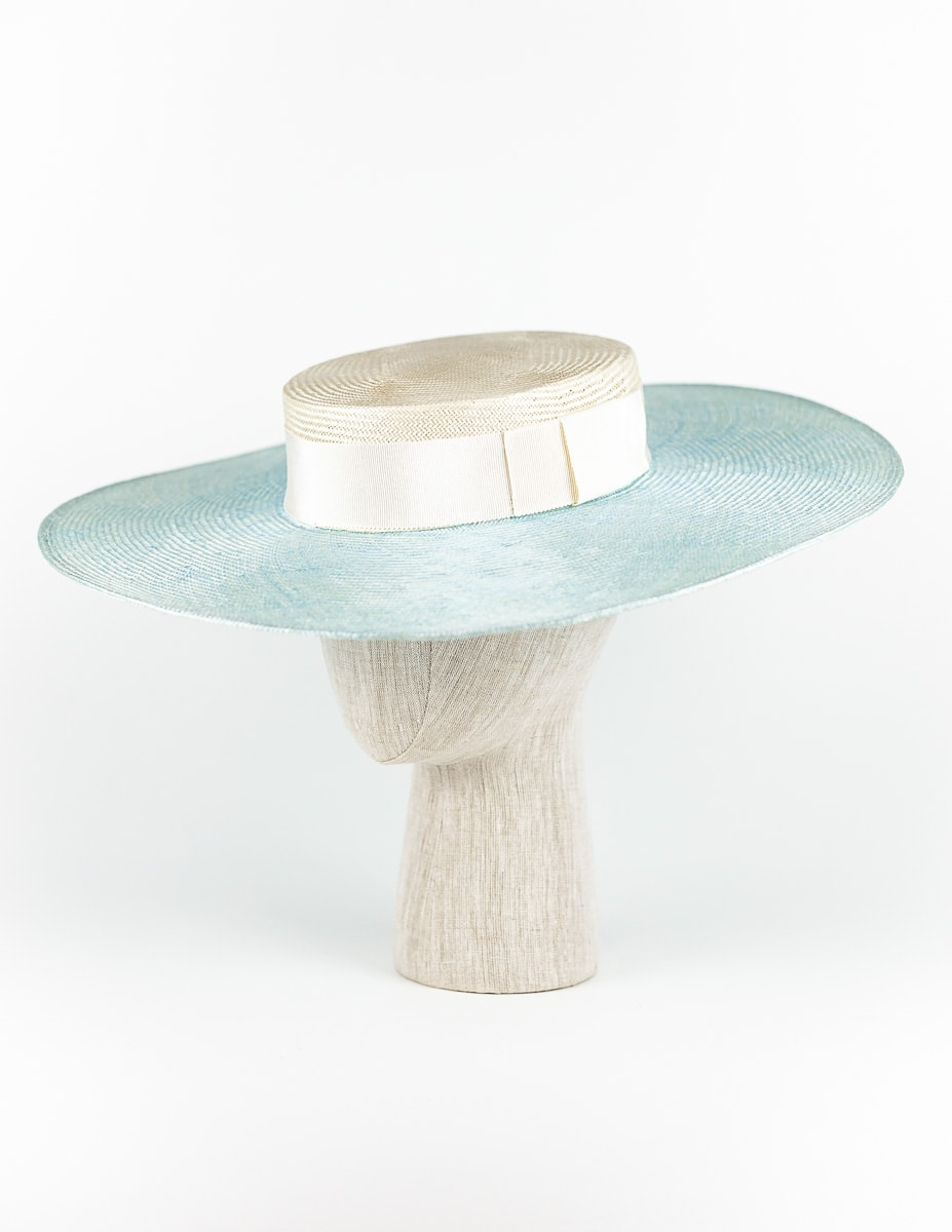 Sky blue and white wide brim straw boater