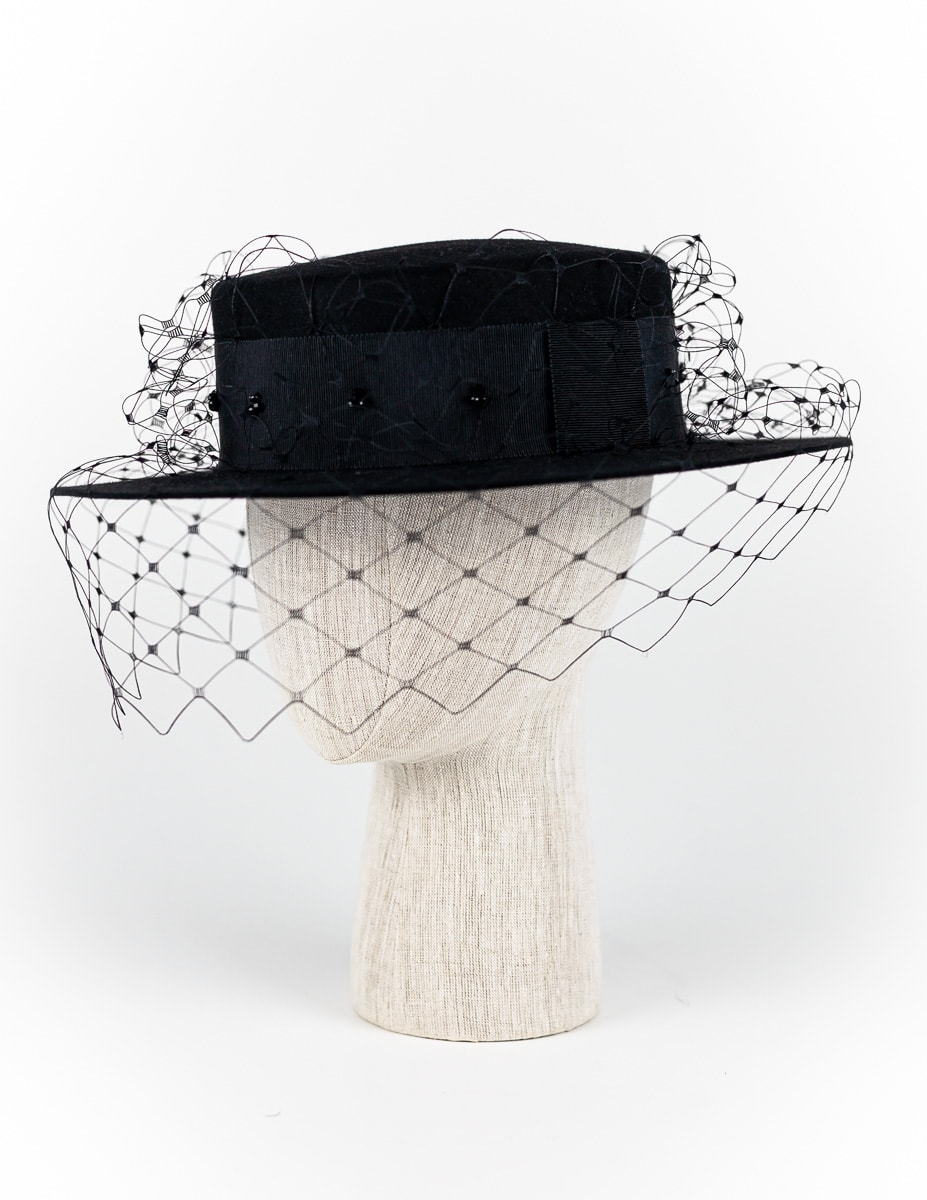 Black fur felt boater with Swarovski crystals and veil $450