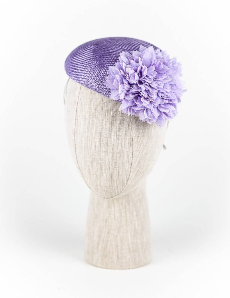 Lavender straw cocktail hat with petals