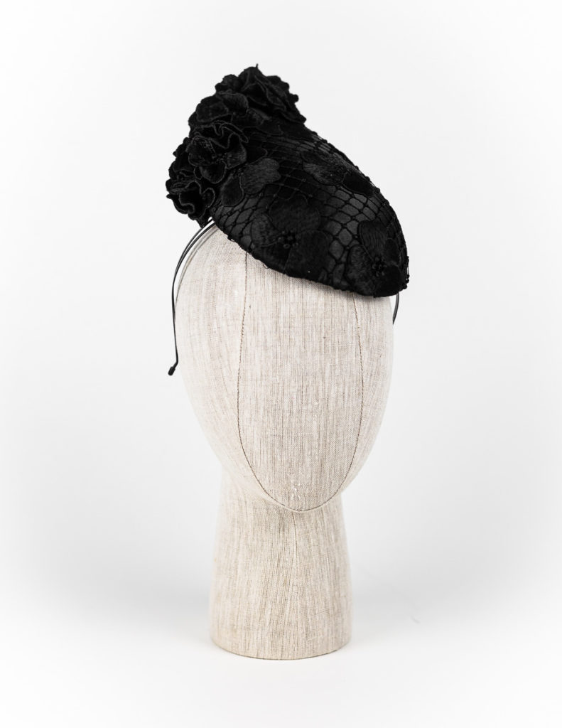 Black guipure lace cocktail hat with lace petals