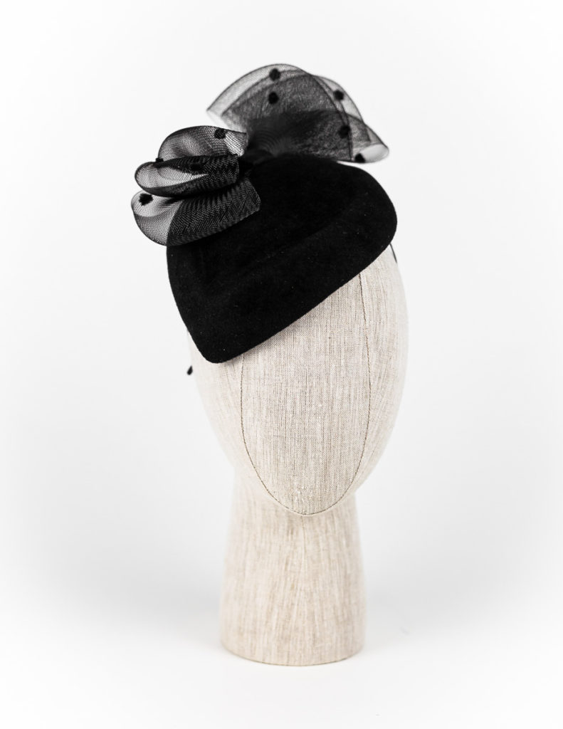 Black velour fur felt hat with spotted crinoline bow $460