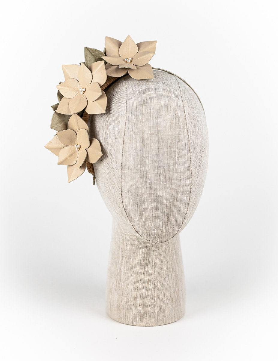 Nude leather hydrangea headpiece with Swarovski pearls