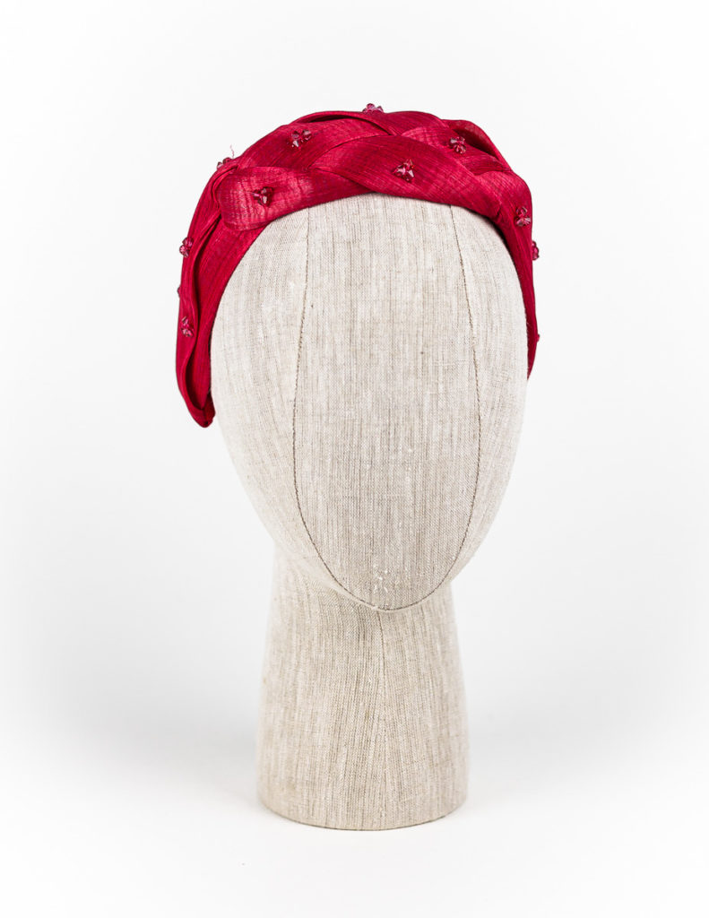Red silk abaca plaited turban with Swarovski crystals