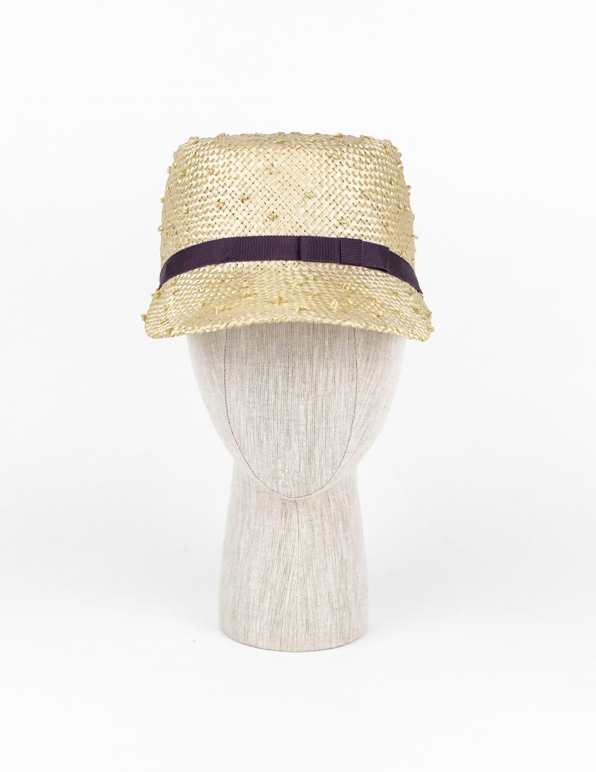 Natural knotted sisal flat top cap with grape Petersham ribbon $420