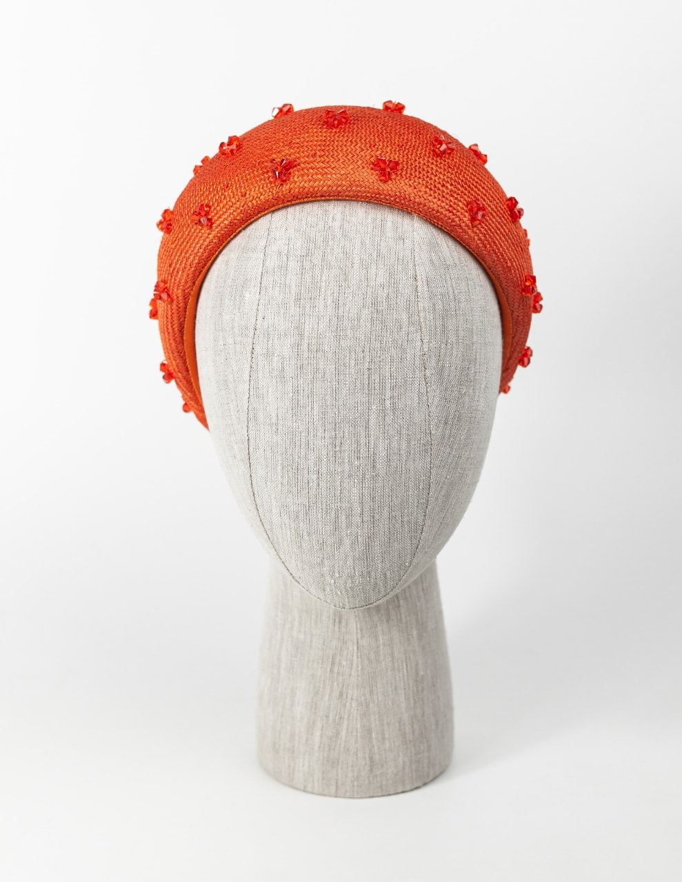 Orange straw headpiece (wide) with Swarovski crystals