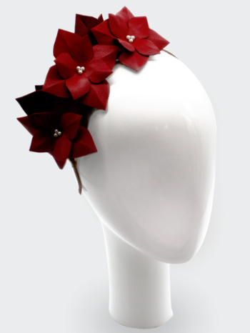 Red leather hydrangea headpiece with Swarovski pearls $340