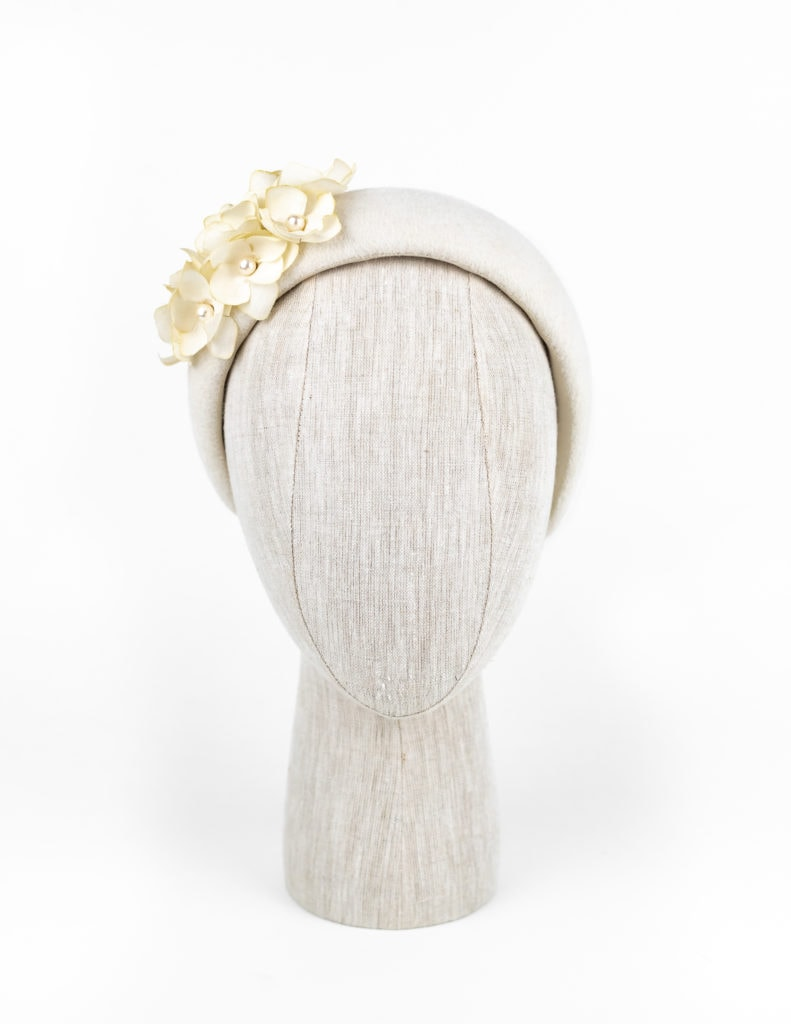 Winter white velour fur felt headpiece with vintage petals and Swarovski pearls $420