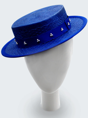 Cobalt blue boater with veil and Swarovski pearls $440