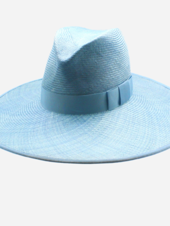 Sky blue straw fedora with ribbon edge $420
