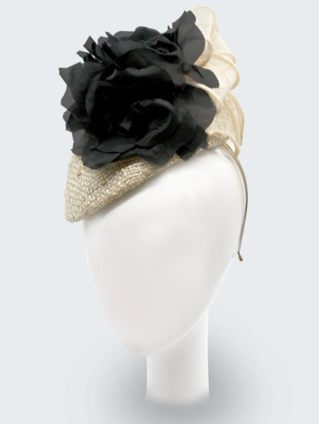 Knotted sisal natural straw beret with black silk roses and sinamay bow $480