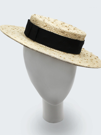 Knotted sisal natural straw boater $420