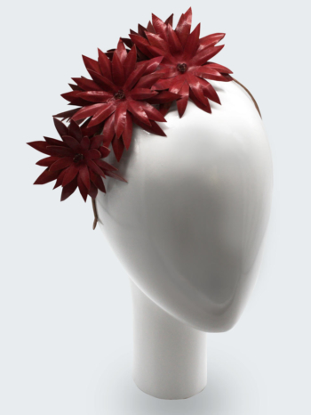 Pink leather spiky leaf flower headband $320